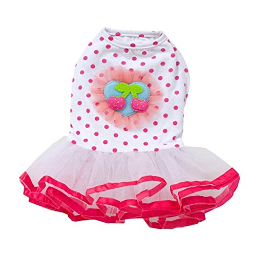 ion Puppy Dog Princess Dress Dog Cherry Lace Skirt Pet Dog Tutu Dress (L, Pink) ()