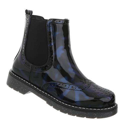 Schuhe Chelsea 36 Damen Ankle Boots 41 Kurzschaft Dunkelblau Booties Lack Stiefel Stiefeletten Blockabsatz ZIAqxwAd