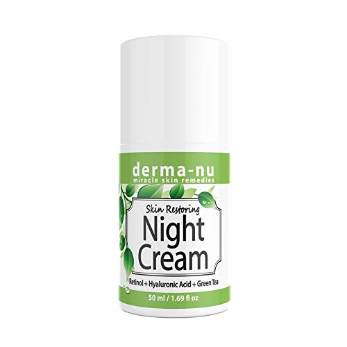 Anti-Aging Night Cream for Face – Natural Skin & Neck Firming Anti Wrinkle Moisturizer – Age Defying Hydrating Care with Retinol, Hyaluronic Acid and Green Tea for Sensitive, Dry or Oily skin