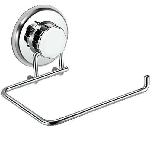 HASKO accessories Powerful Vacuum Suction Cup Toilet Paper Holder – Wall Mount Stainless Steel Tissue Roll Dispenser for Bathroom & Kitchen – Can be Mounted on Clean Flat Smooth Surface (Chrome)