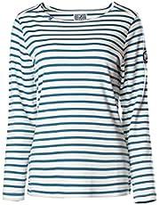 Voile Bleue Cabana Vintage T-shirt voor dames, ronde hals, shirt met strepen, korte mouwen, lange mouwen, ronde hals, gestreept, katoenen blouse, bovenstuk, tops