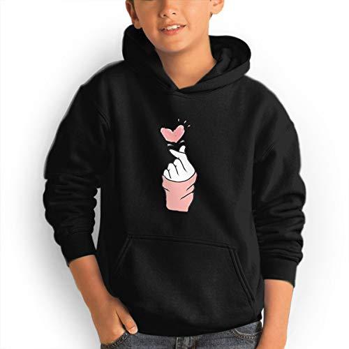 Shenhuakal Youth Hoodies Finger Heart Ggirl%Boy Sweatshirts Pullover with Pocket Black 32 by Shenhuakal