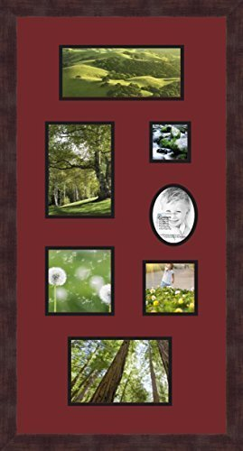 Art to Frames Double-Multimat-748-594/89-FRBW26061 Collage Frame Photo Mat Double Mat with 1-4x9, 5x7, 3x3, 5x5, 4x4, 5x7.5 and 3.5x4.5 Openings and Espresso Frame