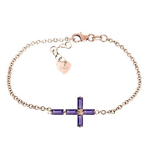 QP bijoutier Améthyste Bracelet en or Rose 9 carats, coupé - 5035R 1.15ct Baguette