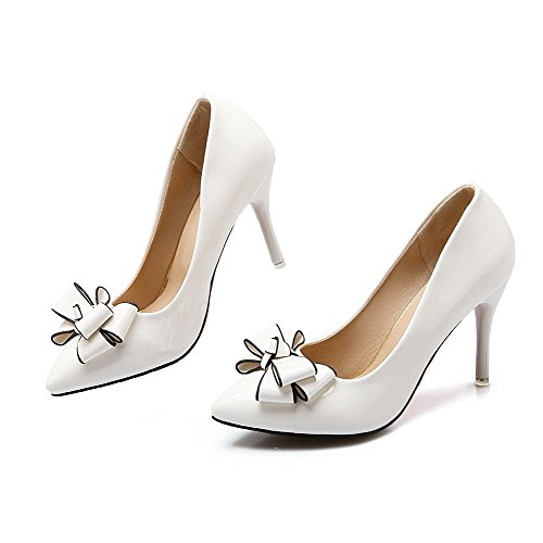 VogueZone009 Women's Pull-on Pointed Closed Toe High-Heels PU Solid Pumps-Shoes White mAdxZ