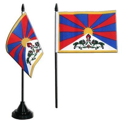 Flaggenfritze/® Tischflagge Tibet 10x15 cm