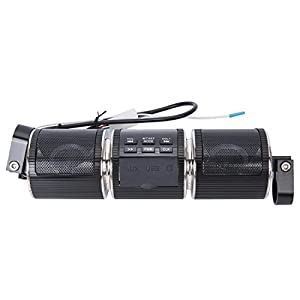 Motorcycle Audio Systems, Ohmotor Waterproof Bluetooth Motorcycle Scooter ATV Jet Speakers Wireless Sound System with Digital Display / USB Port Radio Remote Alarm Speaker FM Radio MP3 Player - Black