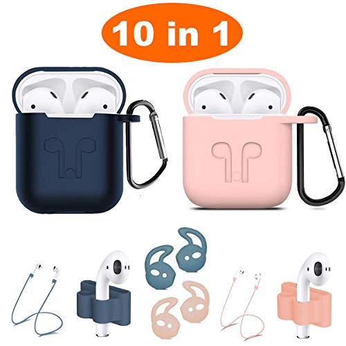 Airpods Case, Airpods Accessories Kits, 10 in 1 Protective Silicone Cover Skin Apple Airpods Anti-Lost Airpods Strap, Airpods Watch Band Holder, Airpods Ear Hook (Blue Pink)