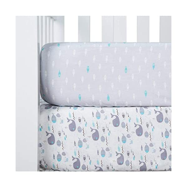 TILLYOU Printed Whale Crib Sheets Set, 100% Egyptian Cotton Toddler Sheets for Baby Boys Girls, Soft Breathable Hypoallergenic, 28″x52″, 2 Pack Sea World & Ocean Fish