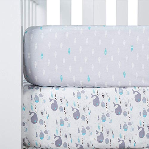 TILLYOU Printed Crib Sheets Set, 100% Egyptian Cotton Toddler Sheet Set for Baby Boys and Girls, Soft Breathable Hypoallergenic, 28