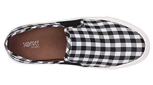 Sofree Mode Féminine Casual Mocassins Slip-on Baskets Classiques Noir-blanc À Carreaux