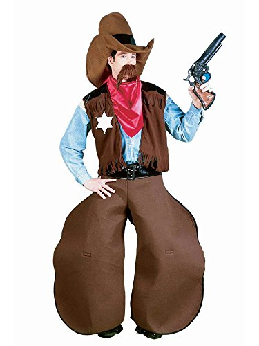 Men's Old Cowhand Costume, Brown/Red, One -