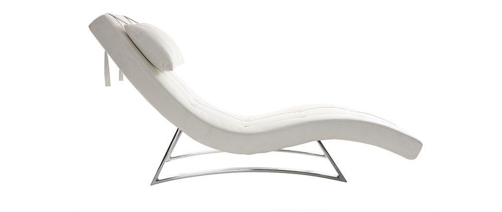 Miliboo - Chaise longue diseño blanco MONACO: Amazon.es: Hogar