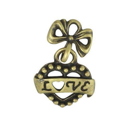 Paquet 5 x Steampunk Bronze Antique Tibétain 22mm Breloques Pendentif (Love) - (ZX16310) - Charming Beads