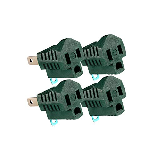 Maximm Polarized Grounding Adapter (4-Pack) Green, 2 Prong Grounding Converter for Wall Outlets Plugs, Turn 2-Prong Outlets to 3-Prong Outlets, Easy to Install, Indoor Only, ETL Listed 2 Prong 3 Prong Outlet