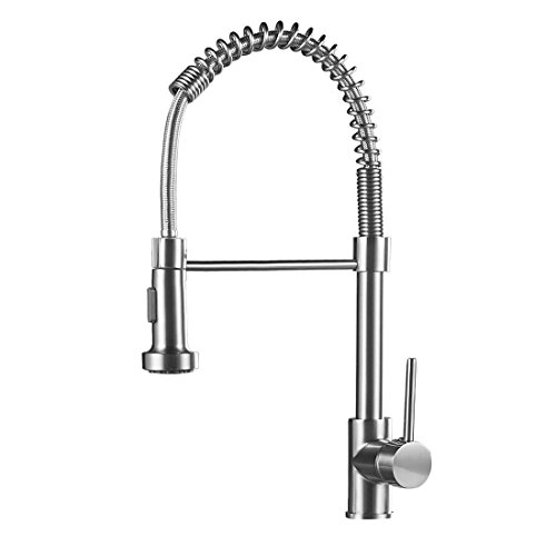 OWOFAN Commerical Spring Brushed Nickel Pre Rinse Pull Down Sprayer Single Handle Kitchen Faucet, Pull Out Kitchen Sink Faucet by OWOFAN