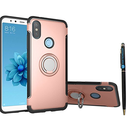Xiaomi Mi A2 Case DWaybox Hybrid Back Case Cover with 360 Degree Rotation Ring Holder for Xiaomi Mi A2/Mi 6X 5.99 Inch Compatible with Magnetic Car Mount Holder (Rose Gold) ()