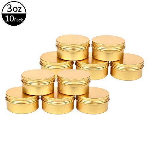 TMO Aluminum Tins 3 Oz 90G Screw Top Metal Tin Container Round Steel Tin Cans Metal Steel Tin Jars Cosmetic Sample Containers Bulk Food Storage Tins Candle Travel Tins Refillable Containers,10 (Metal Tin Container)