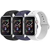 BicasLove Compatible for Apple Watch Band 42mm 44mm Silicone Replacement Sport Strap Compatible for iWatch Bands Women Men S/M 3 Pack E