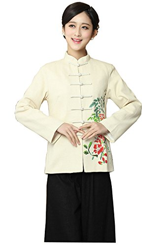 "JTC Linen Women Chinese Jacket Long Sleeve (M: Shoulder 16.1""--Bust 35.4"") (Barnes Wool Top Coat)"