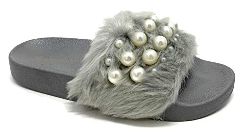Wild Diva Women's Matty-04A Embellished Pearl Faux Fur Platform Wedge Slide Sandal,Grey,7