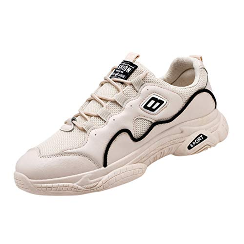 lkoezi Summer Sports Shoes, Men's Breathable Round Head Sneakers Mesh Non-Slip Shoes Thick-Soled Wear-Resistant Basketball Shoes Beige ()