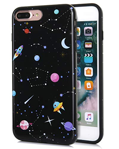 FeelingJoy Compatible iPhone 7 Plus/iPhone 8 Plus Case, IMD Marble Galaxy Space Planet Star Pattern Print Cover Design Protective Shockproof Bumper Phone Case for Girls Women ()