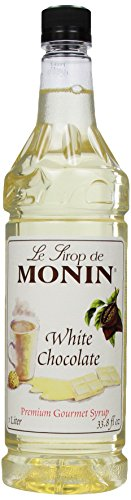 Monin Flavored Syrup, White Chocolate, 33.8-Ounce Plastic Bottles (Pack of 4) ()