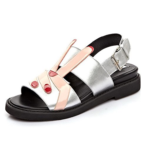 AllhqFashion Womens Open Round Toe Cow Leather Assorted Color Sandals with Heighten Inside Silver 2nRVcfqgwB