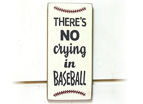 Tamengi There'S No Crying In Baseball Wood Plank Plaque Sign 12