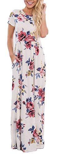 BOCOTUBE Womens Summer Floral Print Beach Long Maxi Casual Dress with Pockets