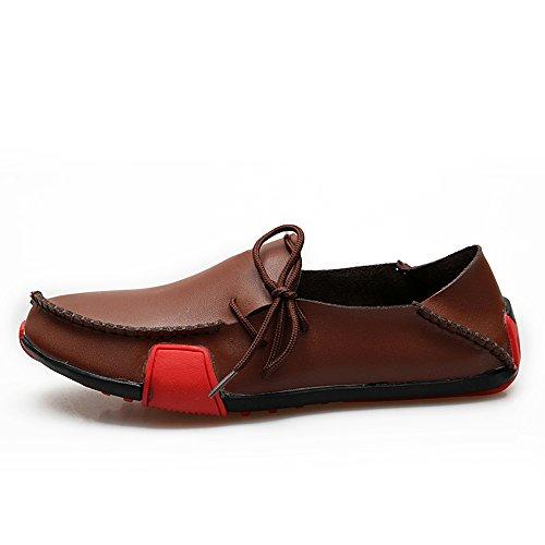 Zapatos De Conducción De Los Hombres Pisos Mocasines Casuales% 100 De Cuero Genuino 1286 Marrón