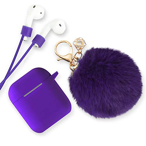 Xmifer AirPods Case, Cute Airpods Case Keychain Drop Proof (Silicone Skin for AirPods Charging Case 2/1) with Fluffy Fur Ball Keychain and Airpods Anti-Lost Strap for Airpods 2/1(Purple)