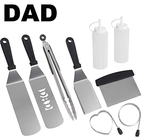 ROMANTICIST 9pc Dad BBQ Griddle Accessories Set for Men Dad on Fathers Day - Heavy Duty Stainless Steel Griddle Tool Kit for Grill Griddle Flat Top Cooking Camping Tailgating