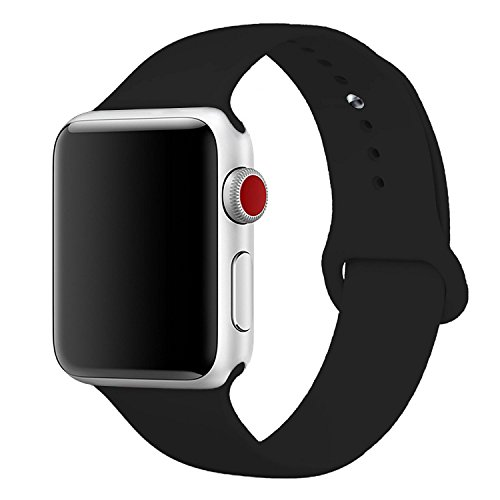 Watch Band 42mm - Sport edition for iWatch Series 1, Series 2, Series 3 - replacement silicone sports bands - Black