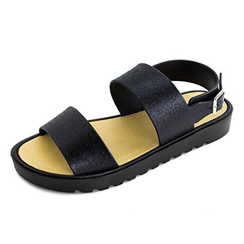 Kali Womens Open Toe Gladiator Ankle Strap Sandals, Womens, Black/Glitter, 7 M US Women