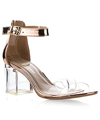 ROF Women's Open Toe Transparent Lucite Heel Ankle Strap Heeled Sandals ROSE GOLD (7.5)
