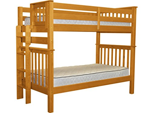 Bedz King Tall Mission Style Bunk Bed Twin over Twin with End Ladder, Honey - Bunk Bed Top Only