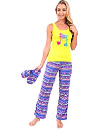 Body Candy Women's Fun Tank and Fleece Pant Pajama Set With Matching Slippers