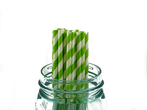"25 Pack Paper Straws 8"" Lime Green Stripe"