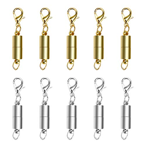 (CrazyPiercing Magnetic Jewelry Clasp, 10pcs Silver Color Tone/Gold Color Tone Magnetic Lobster Clasp, Magnetic Clasps Converter for Necklace Bracelet Anklet Chains (Mix Color))