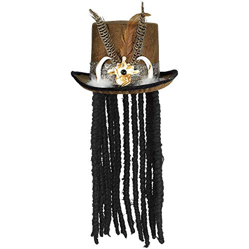 (AMSCAN Witch Doctor Top Hat with Dreads Halloween Costume Accessories, One)