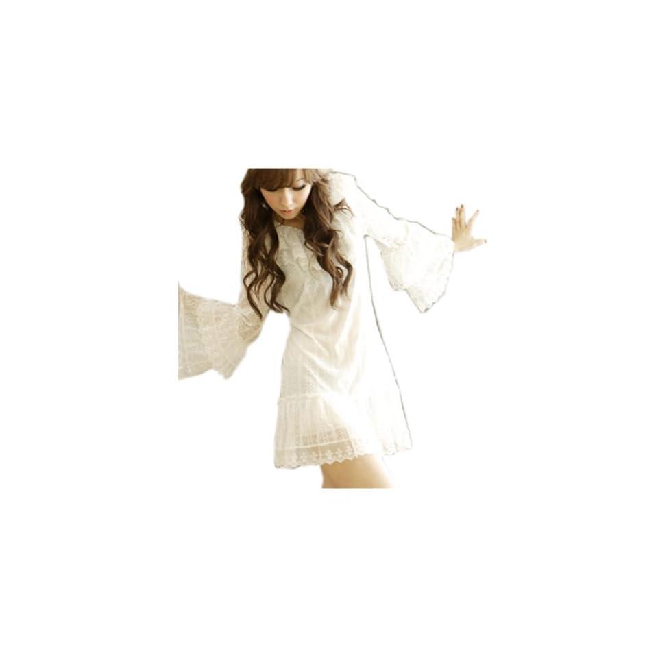 CA Fashion Women's Voile Lace Mini Dress Primer Shirt White Sheer Mini