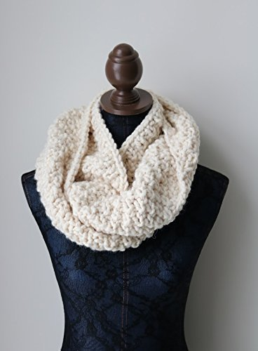 Knitted Large Cowl, Infinity Scarf. Handmade in Cream Chunky Wool Yarn in a Seed Stitch ()