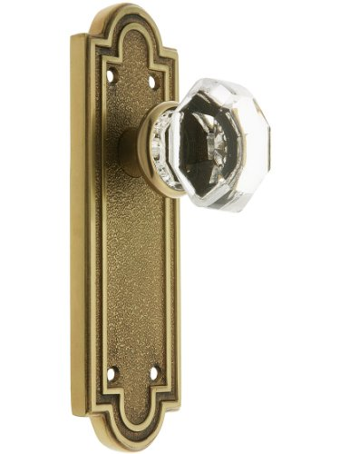Belmont Plate Set With Old Town Crystal Door Knobs Privacy Antique Brass. Doorsets. (Brass Knob Tall)