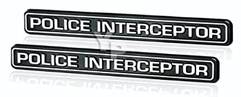 Black & Chrome Police Interceptor Emblems - Pair