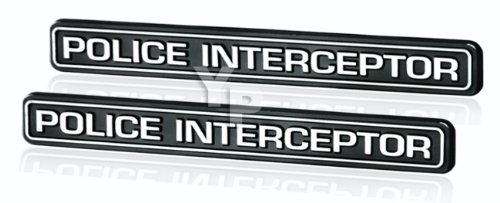 Black & Chrome Police Interceptor Emblems - Pair ()