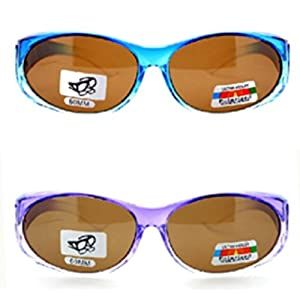 2 Pair of Women's Polarized Fit Over Ombre Oval Sunglasses - Wear Over Prescription Glasses (Purple with Brown Lens, Blue with Brown Lens) 2 Carrying Cases Included