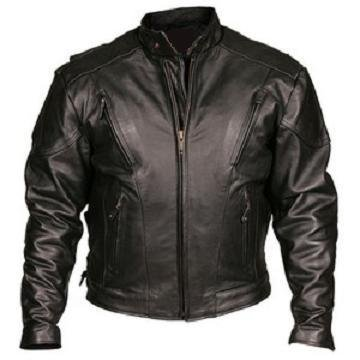 Padded Leather Motorcycle Jacket - 6