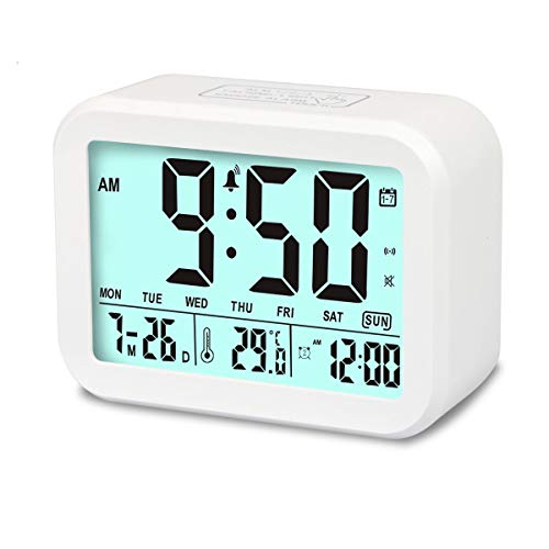 Palm Sunday Set (Aitey Digital Alarm Clock, Talking Clock with 3 Alarms, Optional Weekday Alarm, Intelligent Noctilucent & Snooze Function, Month Date & Temperature Display for Adults, Kids & Teens (White))